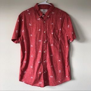 Men's Red Toucan and Palm Tree Button Down